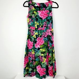 Talbots Women's Floral Pink Green Yellow A Line 2P
